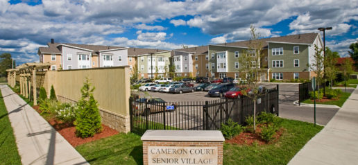 Cameron Court signage and parking lot