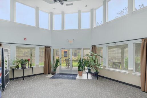 large lobby area with high windows