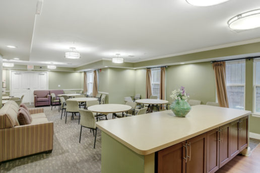 large community room with seating areas