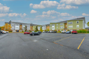 large parking lot and exterior